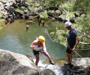 rappelling-down-waterfalls