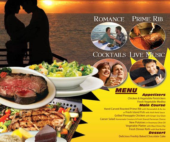 Calypso dinner Cruise menu