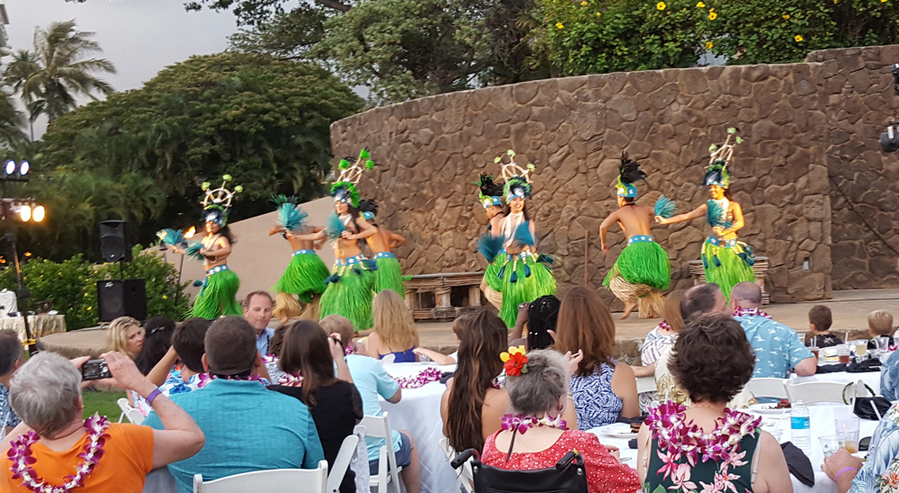 Grand Wailea Luau hula dancers on stage