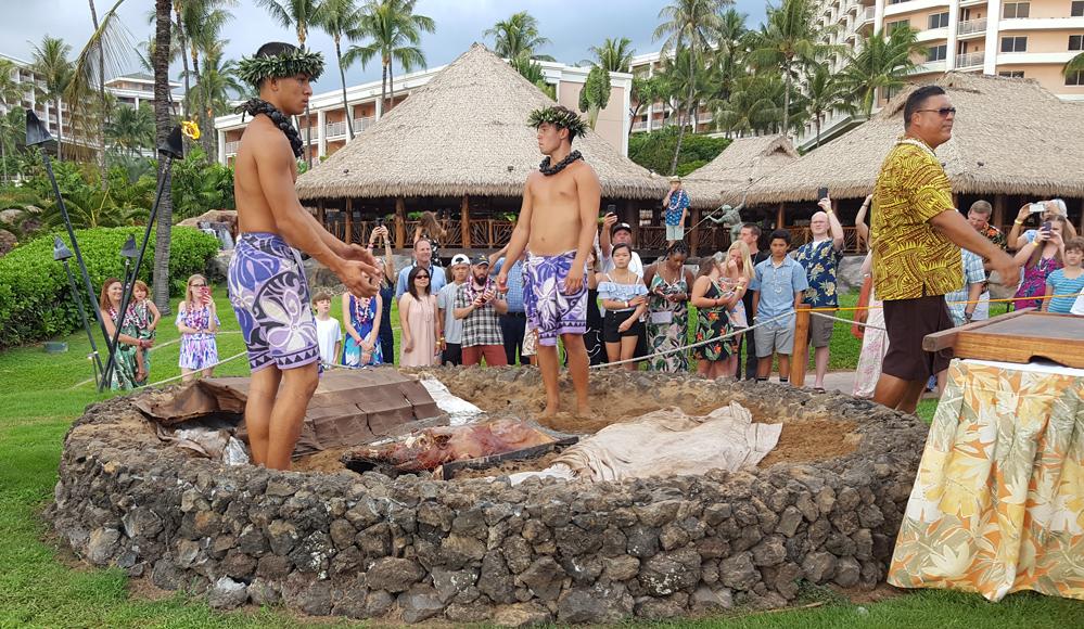 Grand Wailea Honuaula Luau Imu Pig ceremony